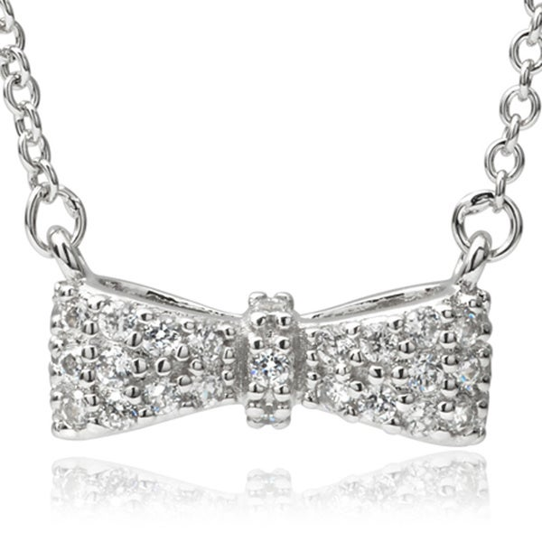 Journee Collection Sterling Silver Cubic Zirconia Bow Pendant Necklace
