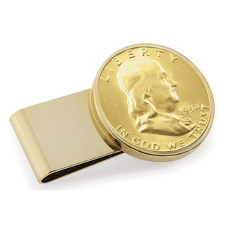 American Coin Treasures Goldplated Silver Franklin Half Dollar Stainless Steel Money Clip