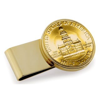 American Coin Treasures Goldplated JFK Bicentennial Half Dollar Stainless Steel Money Clip