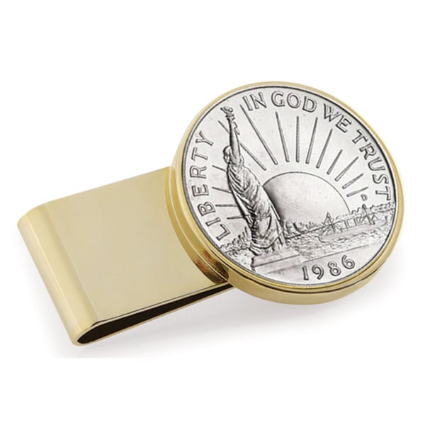 American Coin Treasures Statue of Liberty Commemorative Half Dollar Stainless Steel Money Clip