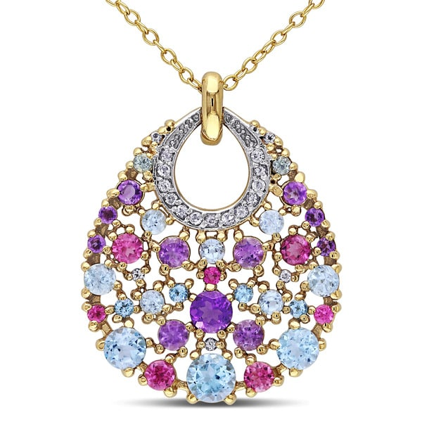 Miadora Yellow Silver Multi-gemstone Necklace