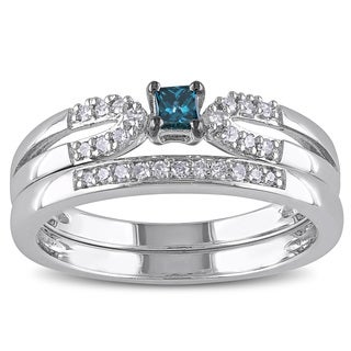 Haylee Jewels Sterling Silver 1/5ct TDW Blue Diamond Ring Set (H-I, I2-I3)
