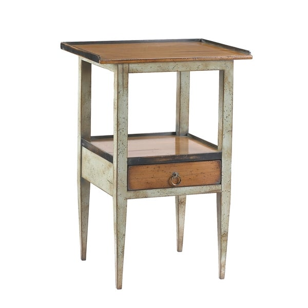 French Heritage Grey/ Blue Wood Accent Table with Drawer