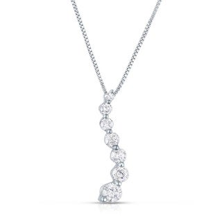10k White Gold 1/4ct TDW Gold Diamond Journey Pendant Necklace (I-J, I2-I3)