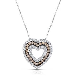 14k White Gold 3/4ct TDW White and Champagne Diamond Heart Pendant Necklace (I-J, I2-I3)