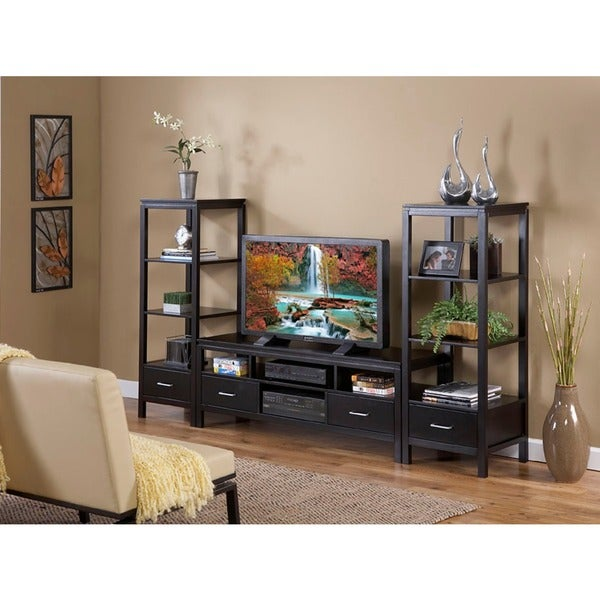 Linon Sutton Black Plasma Tower TV Center
