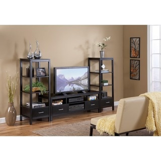 Linon Sutton Black Wood Plasma TV Tower