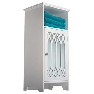 Kathy White 1-door Mirror Floor Cabinet with Open Shelf