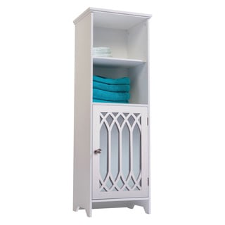 Kathy White 1-door Linen Tower with Mirror