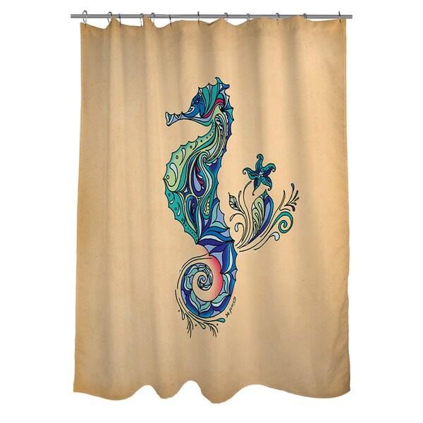 Sea Life Turtle Wave Rug2 Bath Mat: Thumbprintz Seahorse Shower Curtain
