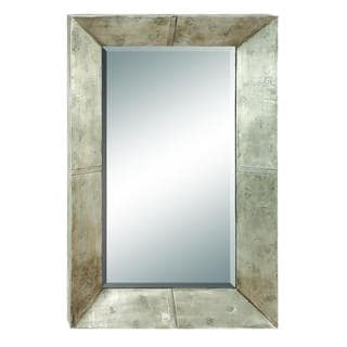 DHP Solid Wood Silvertone Rectangular Wall Mirror