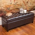 Christopher Knight Home Hastings Tufted Brown Bonded Leather Storage Ottoman