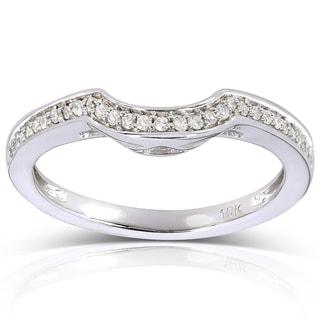 Annello 10k White Gold 1/8ct TDW Curved Diamond Wedding Band (H-I, I1-I2)