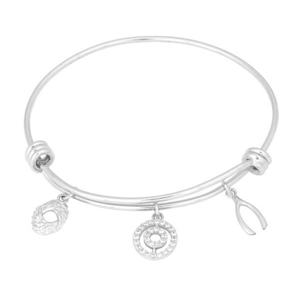 La Preciosa Silvertone Brass Wishbone Cubic Zirconia Circle Charm Bangle