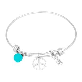 Silvertone Brass Turquoise, Peace, Infinity Charm Bangle