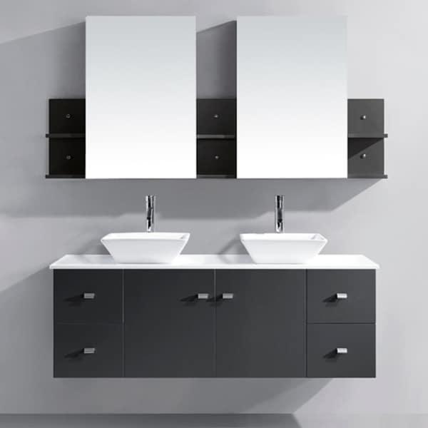 Virtu USA Clarissa 61 Inch Grey Double Sink Bathroom Vanity Set 16553178