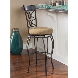 Curves Metallic Brown Upholstered Back-bar Stool