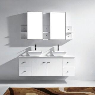 Virtu USA Clarissa 61-inch White Double Sink Bathroom Vanity Set