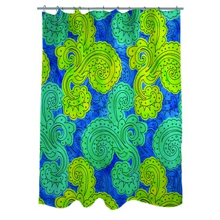 Thumbprintz Funky Florals Paisley Royal Blue Shower Curtain