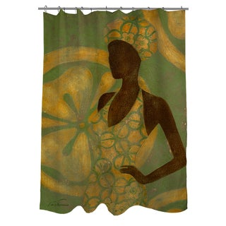 Thumbprintz Ebony Art Green Shower Curtain