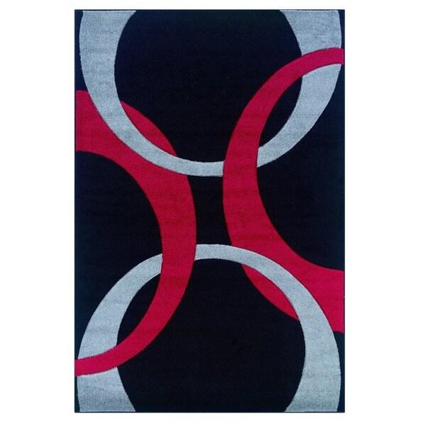 Linon Corfu Collection Black/ Red Area Rug (1'10 x 2'10)