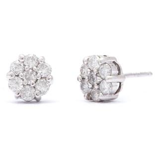 10k White Gold 1/2ct TDW White Diamond Cluster Stud Earrings (I-J, I2-I3)