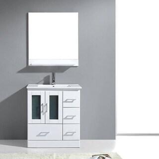 Virtu USA Ava Single Sink Vanity in White with Mirror