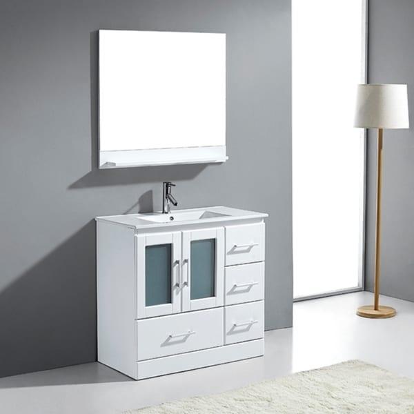 virtu usa 36 inch ava single sink white vanity with mirror