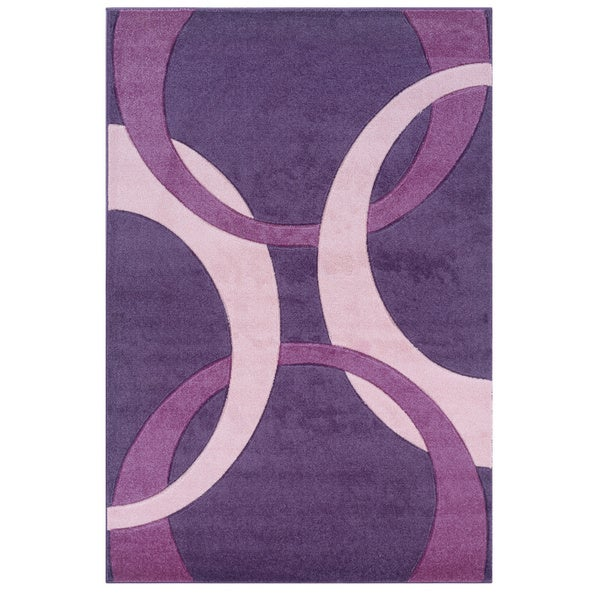 Linon Corfu Collection Purple/ Baby Pink Area Rug (1'10 x 2'10)