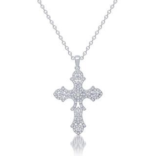 10k White Gold 2/5ct TDW Diamond Vintage-inspired Cross Necklace (I-J, I2-I3)