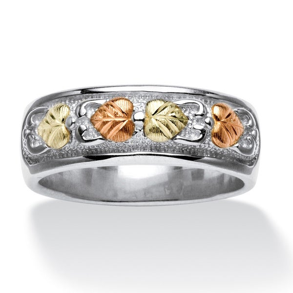 PalmBeach Two-tone Sterling Silver Leaf Design Ring Tailored