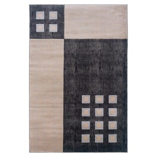 Charcoal and Ivory Geometric Squares Area Rug (8' x 10'3)