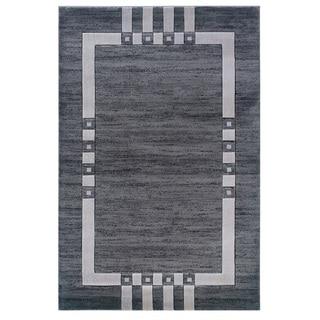 Charcoal/ Ivory Bordered Area Rug (8' x 10'3)