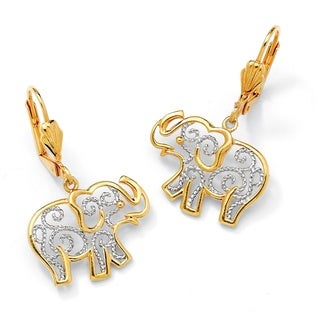 PalmBeach 18k Yellow Gold Overlay Filigree Elephant Earrings Tailored