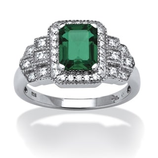 PalmBeach Platinum over Silver Created Emerald Cubic Zirconia Ring Color Fun