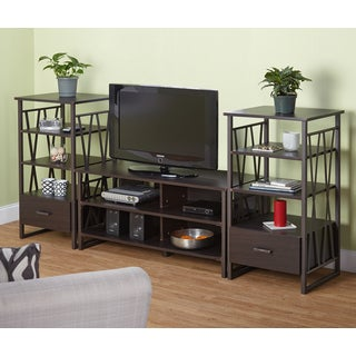 Simple Living Seneca Espresso 3-piece 48-inch TV Stand with Two Media Piers