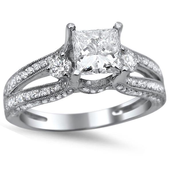 Noori 14k White Gold 1 1 2ct TDW Princess cut Diamond Engagement Ring G H S