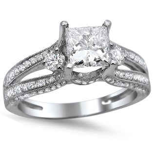 Noori 14k White Gold 1 1/2ct TDW Princess-cut Diamond Engagement Ring (G-H, SI1-SI2)