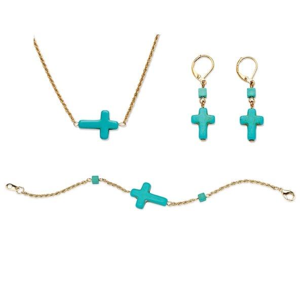 PalmBeach Viennese Turquoise Cross Jewelry Set Naturalist