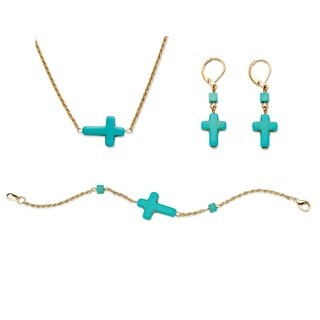 Angelina D'Andrea Viennese Turquoise Cross Jewelry Set