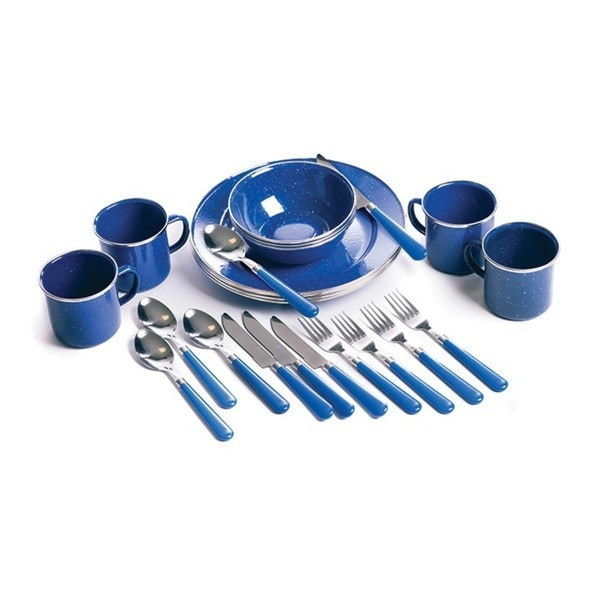 Stansport Enamel Camping 24-piece Blue Tableware Set