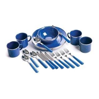 Stansport Enamel Camping 24-piece Blue Tableware Set