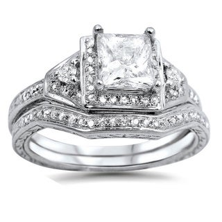 14k White Gold 1 1/10ct TDW Clarity-enhanced Diamond Bridal Set (G-H, SI1-SI2)