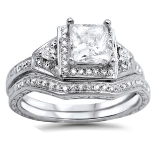 Noori 14k White Gold 1 1/10ct TDW Clarity-enhanced Diamond Bridal Set (G-H, SI1-SI2)
