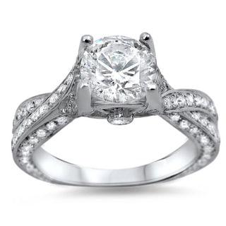 Noori 14k White Gold 1 1/3ct TDW Clarity-enhanced Diamond Engagement Ring (G-H, SI1-SI2)