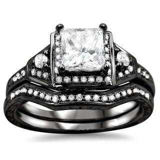 14k Black Gold 1ct TDW Princess-cut Diamond Bridal Set (G-H, SI1-SI2)