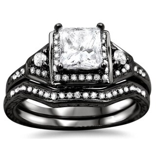 Noori 14k Black Gold 1 1/10ct TDW Clarity-enhanced Diamond Bridal Set (G-H, SI1-SI2)