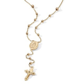 PalmBeach Rosary Style Necklace in 18k Gold Over Sterling Silver Tailored