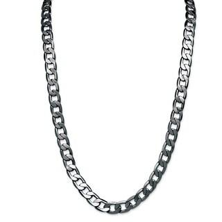 PalmBeach Men's Black Ruthenium-plated Curb Link Necklace