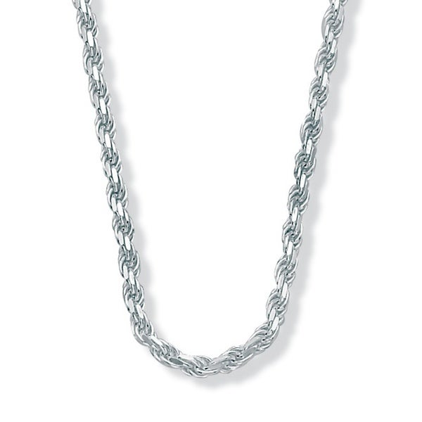 "PalmBeach Sterling Silver Diamond-Cut Rope Chain Necklace 20"" Tailored 13811070"
